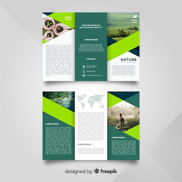 Plantilla de folleto tríptico de naturaleza vector gratuito