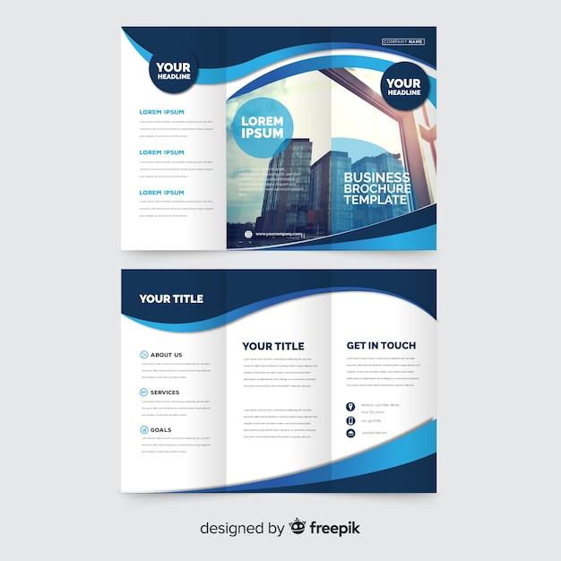 Plantilla de folleto tríptico de negocio vector gratuito