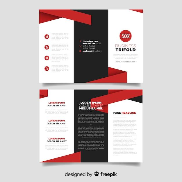 Plantilla de folleto tríptico para negocios vector gratuito