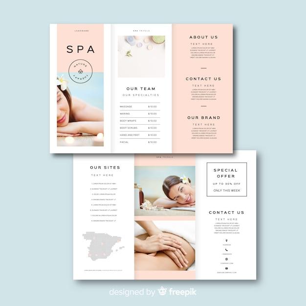 Plantilla de folleto tríptico de spa vector gratuito
