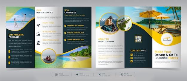 Plantilla de folleto tríptico de viaje Vector Premium