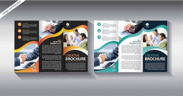 Plantilla de folleto tríptico Vector Premium