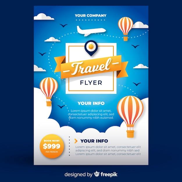 Plantilla de folleto de viajes vector gratuito