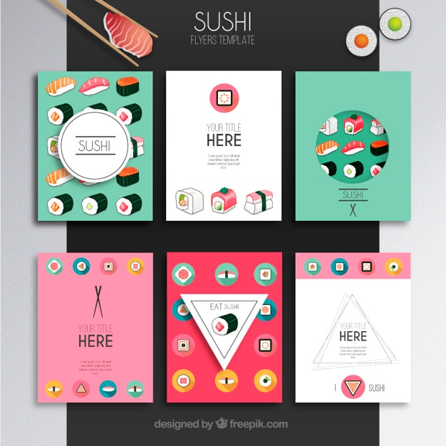 plantilla de folletos sushi descargar vectores gratis