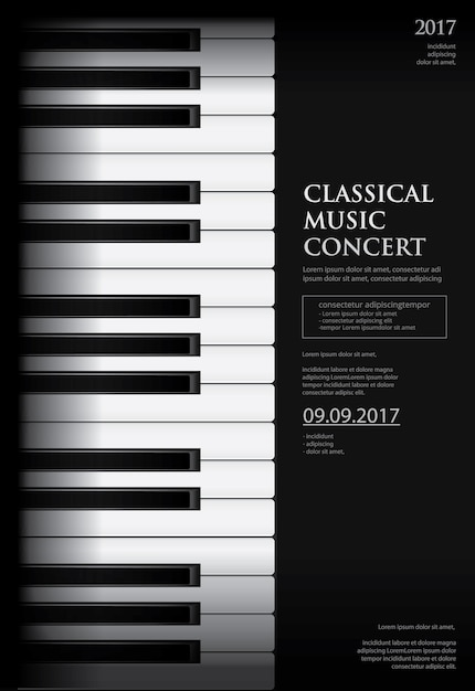 Plantilla de fondo de cartel de piano de cola de música Vector Premium