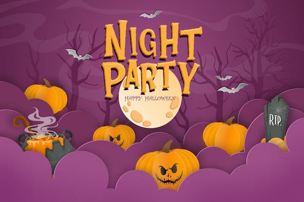 Plantilla de fondo de feliz halloween en la oscuridad con calabaza vector gratuito