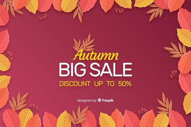 Plantilla de fondo plano de venta de otoño vector gratuito