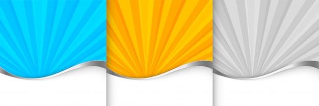 Plantilla de fondo sunburst en tono naranja, azul y gris vector gratuito
