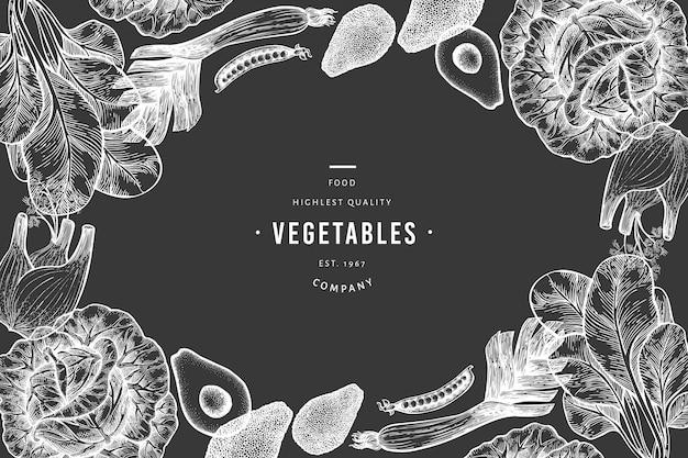 Plantilla de fondo de verduras verdes Vector Premium