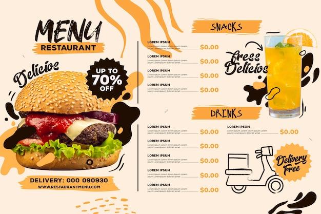 Plantilla de formato horizontal de menú de restaurante digital con bebida y hamburguesa vector gratuito