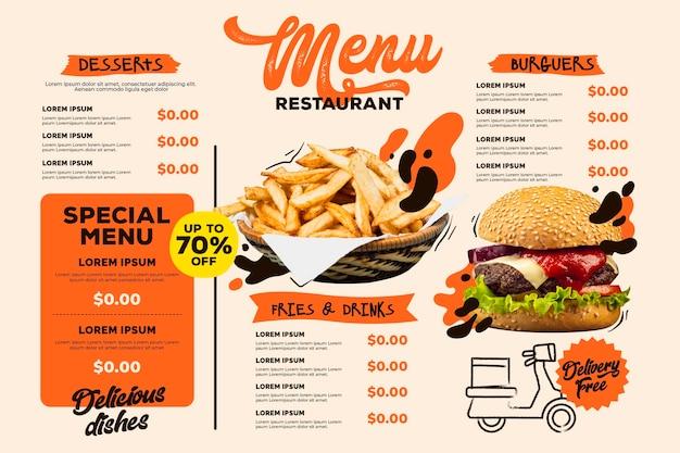 Plantilla de formato horizontal de menú de restaurante digital con hamburguesas y papas fritas vector gratuito