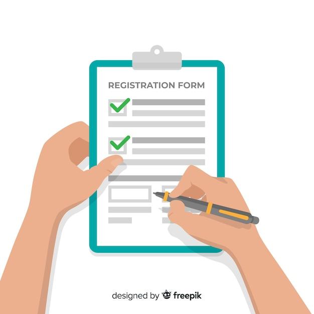 Plantilla de formulario de registro con diseño plano vector gratuito