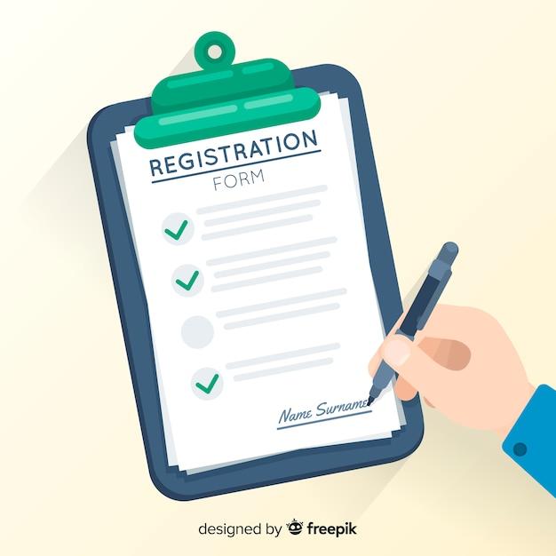 Plantilla de formulario de registro con diseño plano Vector Premium