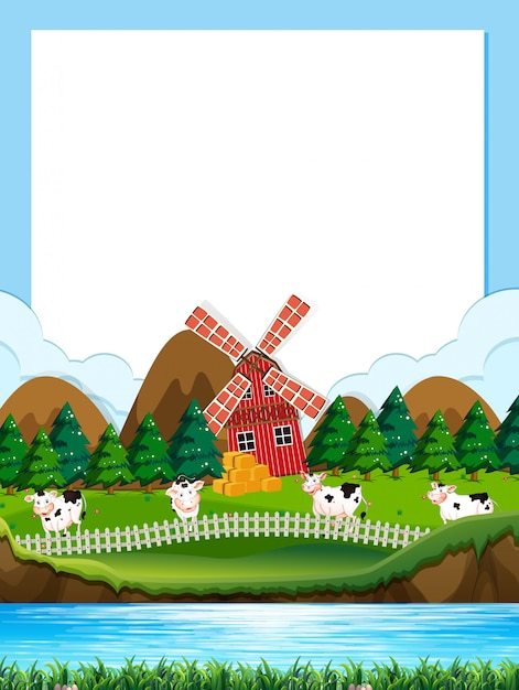 Plantilla de frontera de granja de vaca vector gratuito