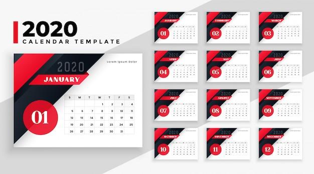 Plantilla geométrica moderna del calendario 2020 vector gratuito