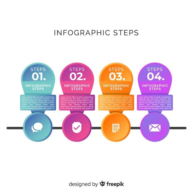 Plantilla de gradiente de pasos de infografía vector gratuito
