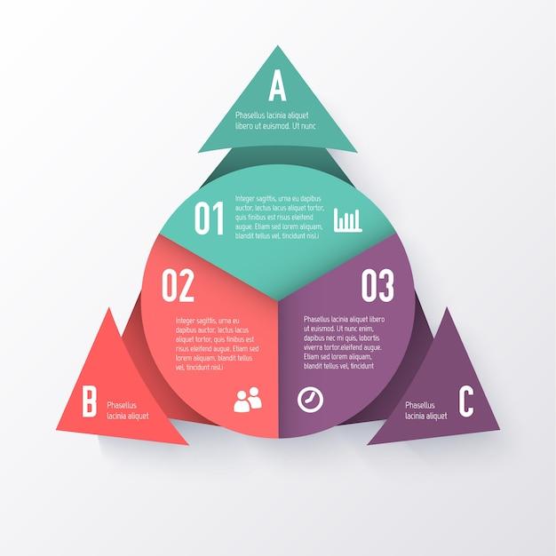 Plantilla de un gráfico circular con flechas triangulares. concepto de negocio Vector Premium