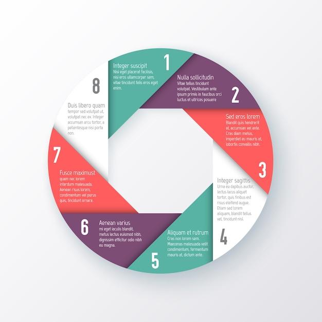 Plantilla para un gráfico circular de las ocho partes. concepto de negocio Vector Premium