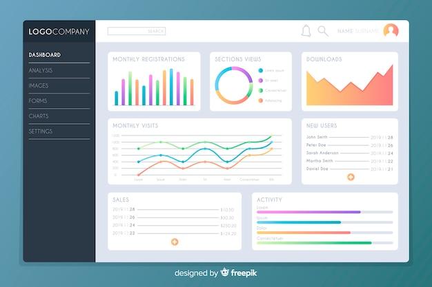 Plantilla de gráficos estadísticos de infografía vector gratuito