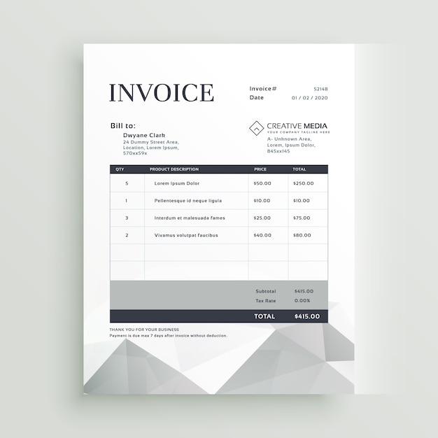 Plantilla gris de factura con formas geométricas | Descargar ...