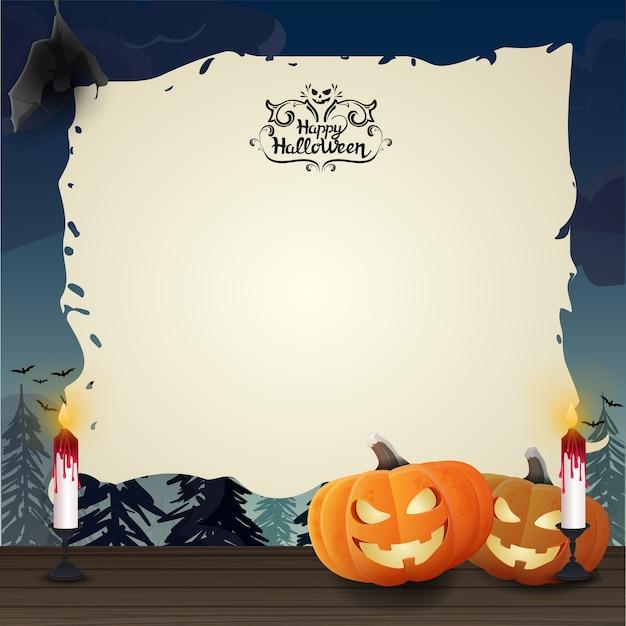 Plantilla de halloween con calabazas y papel viejo | Descargar ...