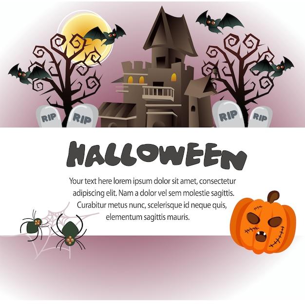Plantilla de halloween linda con casa embrujada | Descargar Vectores ...