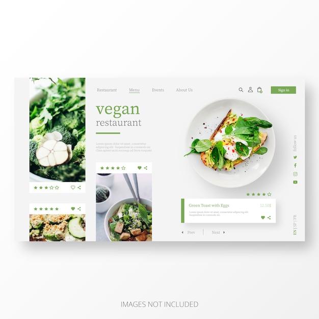 Plantilla hermosa de la página de aterrizaje del restaurante vegano vector gratuito