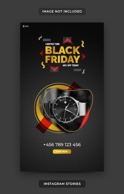Plantilla de historia de instagram de black friday Vector Premium