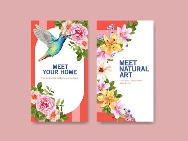 Plantilla de historia de instagram con diseño de concepto de flor de verano vector gratuito
