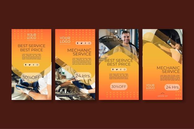 Plantilla de historias de instagram de anuncio mecánico Vector Premium