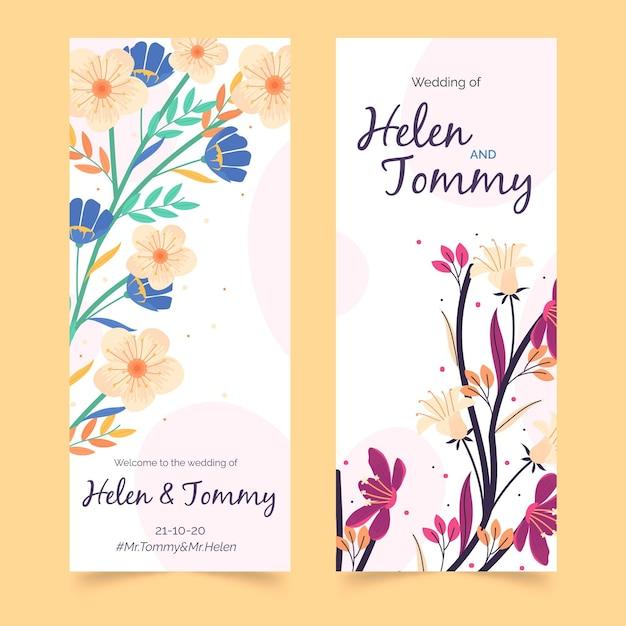 Plantilla de historias de instagram de boda floral vector gratuito