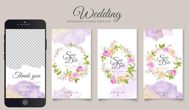 Plantilla de historias de instagram para bodas vector gratuito