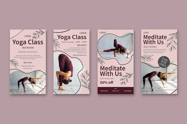 Plantilla de historias de instagram de clase de yoga vector gratuito