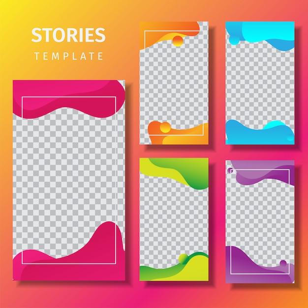 Plantilla de historias de instagram de colores fluidos Vector Premium