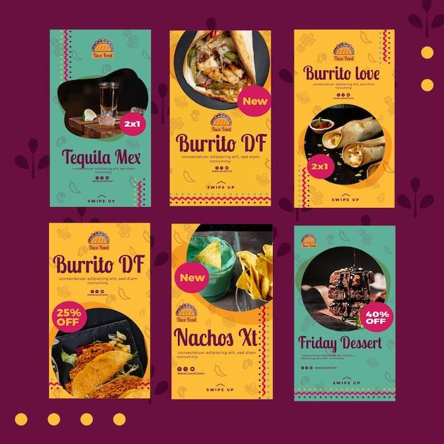 Plantilla de historias de instagram de restaurante de comida de taco vector gratuito