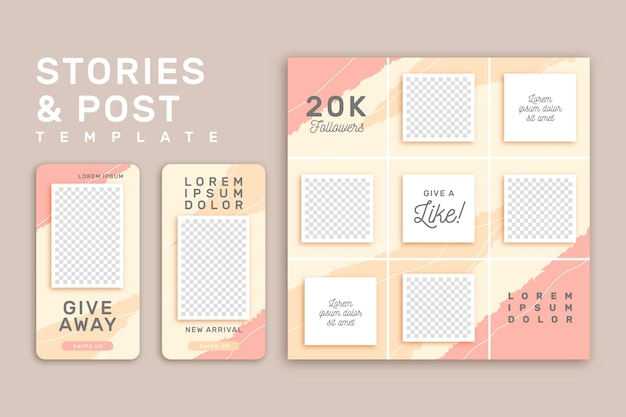 Plantilla de historias de instagram rosa y amarillo Vector Premium