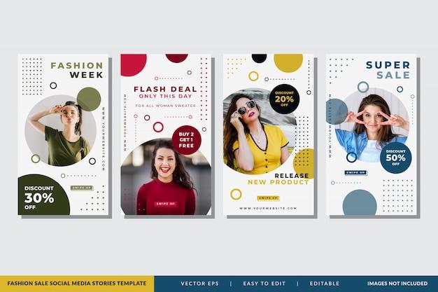 Plantilla de historias de redes sociales de venta de moda Vector Premium