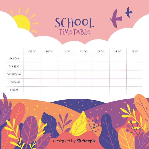 Plantilla de horario escolar dibujado a mano vector gratuito