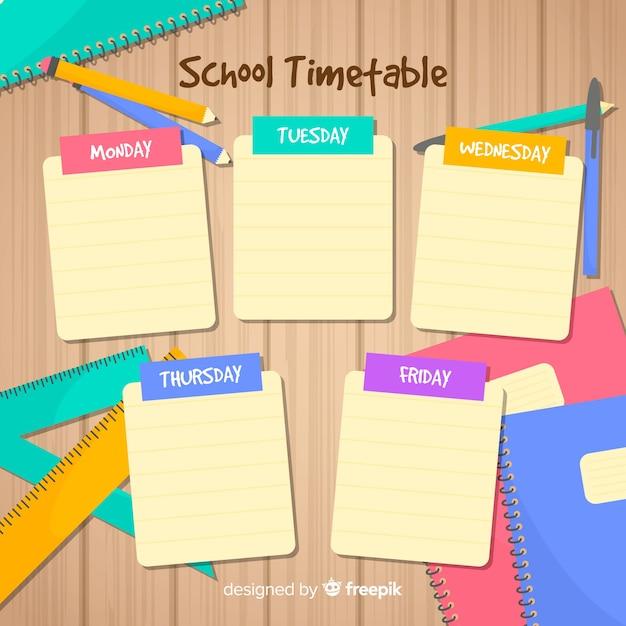 Plantilla de horario escolar en diseño plano vector gratuito