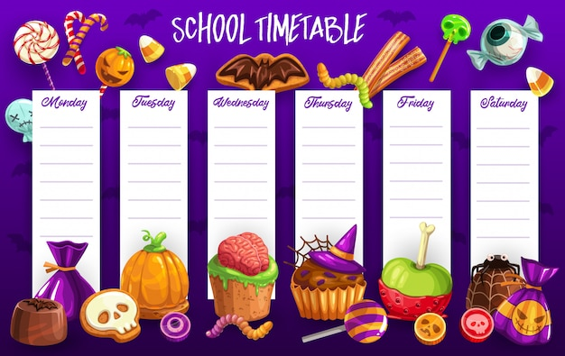 Plantilla de horario escolar con dulces de halloween Vector Premium