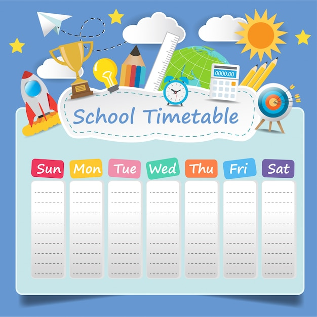 Plantilla de horario escolar Vector Premium