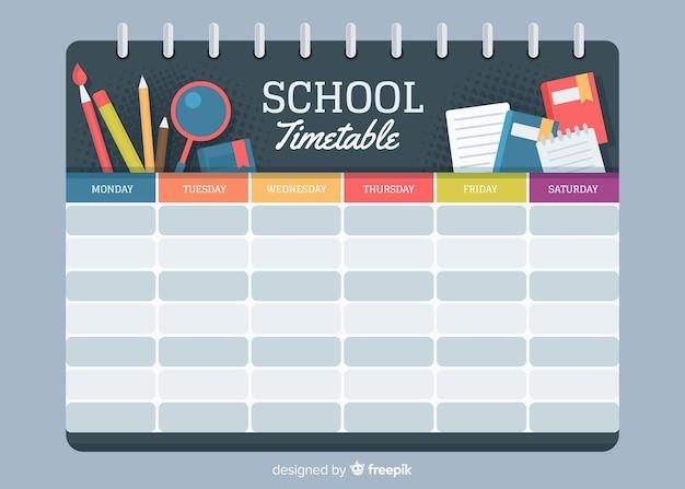 Plantilla de horario de escuela de estilo plano vector gratuito