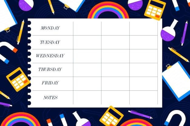 Plantilla de horario de regreso a la escuela Vector Premium
