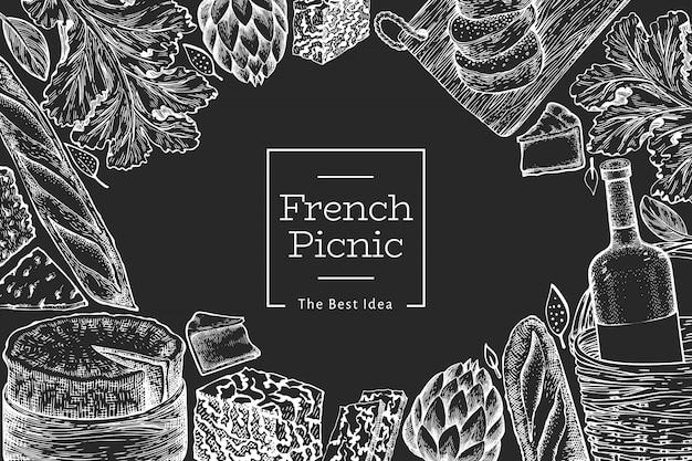 Plantilla de ilustración de comida francesa. dibujado a mano ilustraciones de comida de picnic en la pizarra. grabado estilo diferente merienda y vino. Vector Premium