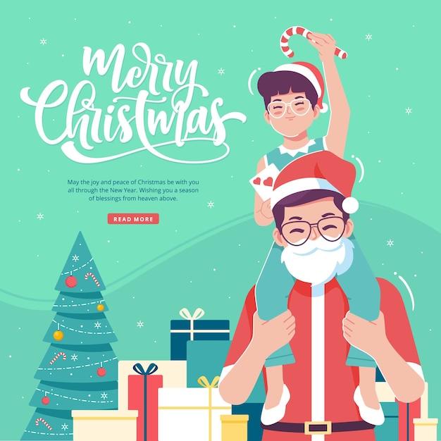 Plantilla de ilustración de concepto de tarjeta de felicitación de navidad Vector Premium