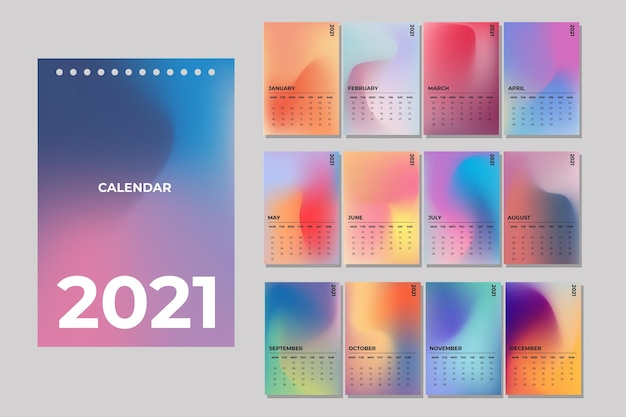Plantilla ilustrada del calendario 2021 Vector Premium