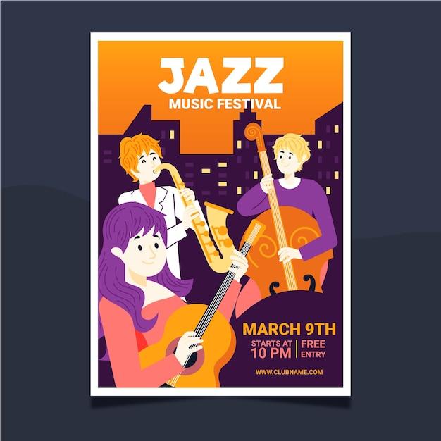 Plantilla ilustrada de póster de música vector gratuito