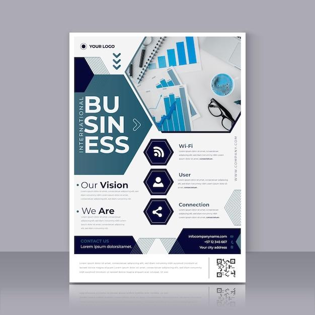 Plantilla de impresión de cartel de negocios moderno vector gratuito