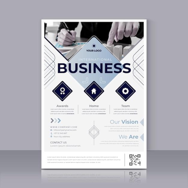 Plantilla de impresión de póster de negocios internacionales vector gratuito