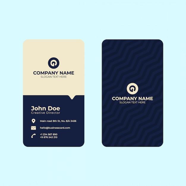 Plantilla de impresión de tarjeta de visita vertical. Vector Premium